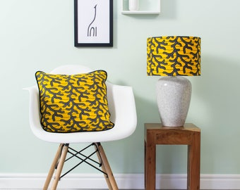 African lampshade and pillow set - African print lampshade - African  pillow - throw pillow - scatter cushion - Yellow and black branches