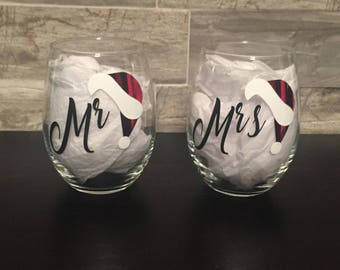 Mr and Mrs Santa theme stemless Wine Glass Pair