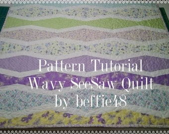Wavy SeeSaw Quilt, Easy Pattern Tutorial with photos, pdf