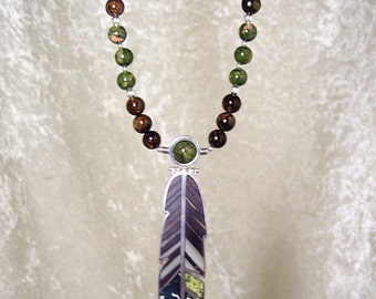 OLIVE GROVE- OOAK Reversible Feather Necklace in Sunset Jasper, Chinese Writing Stone, Unakite, Bronzite, Epidote, and Sterling Silver