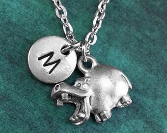 Hippo Necklace, Personalized Necklace, Hippo Pendant, Custom Necklace, Hippopotamus, Monogram Necklace Hippo Charm Necklace