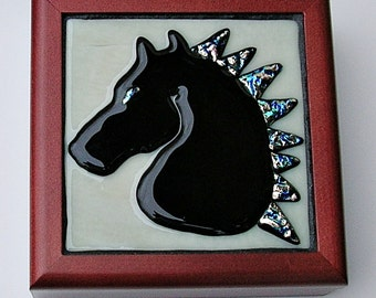 Black Horse Jewelry Box Fused Glass Art Keepsake Box Equestrian Decor Equine Gifts Jewelry Storage Glass and Wood Storage Box