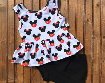 Baby Toddler Girls disney mickey and minnie peplum tank top and black bloomer shorts set