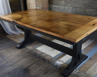 The Sophia - Reclaimed Wood Extension Trestle Table, Farmhouse Table