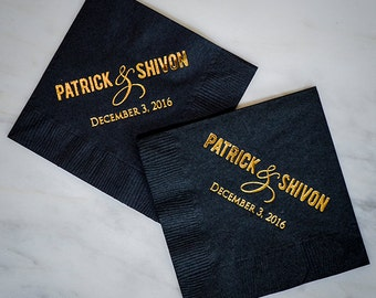 Gold Foil Ampersand Napkins, Personalized Couple's Name Napkins, Custom Wedding Name Napkins, Couple's Name Party Napkins