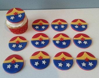 Wonder Woman fondant flat cupcake toppers SET of 12