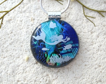 Mermaid Necklac, OOAK  Dichroic Fused Glass Jewelry,Handmade Dichroic Jewelry, Mermaid Jewelyr, Ocean Necklace, ccvalenzo,  042618p101