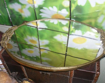 Vintage Vanity Mirror Round Tray - Flower Filigree Sides - gold tone