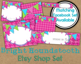 Pink Etsy Banner Set - Houndstooth Etsy Shop Banner - Bright Pink Banner - Colorful Etsy Shop Banner - Bright Colored Etsy Shop Icon