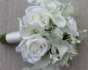Wedding  Bouquet White Bouquet Winter Wedding Real Touch Off White Calla Lily Bridal Bouquet Calla Lily Bouquet