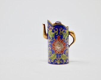 Vintage Miniature Cloisonne Coffee Pot Miniature Cloisonne Figurine