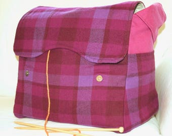 Purple plaid, Knitting Bag, Snag-Free, Zipper-less, Yarn Dispenser, Pro-knitter bag, handbag, yarn storage, crocheting tote, Knit on the go