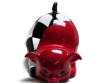 Ceramic Piggy Bank - Racing Red - Checkered Flag - Racing - Motorsports - Finish Line