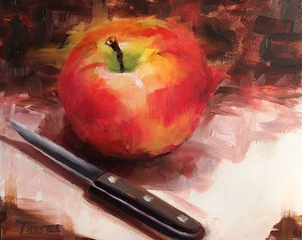 original oil painting canvas panels red art gift ideas gifts apple