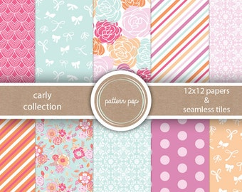 Floral Stripes Bright Digital Scrapbook Papers - Backgrounds