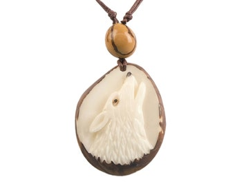 Tagua Nut Necklace: Howling Wolf (1153-N773) P13