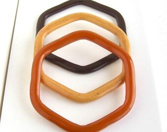 3 Vintage 6-Sided Bakelite Bangle Bracelets