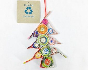 Eco-Art Rustic Tree Ornament, Quilled Recycled Paper Christmas Ornament, Earth Day
