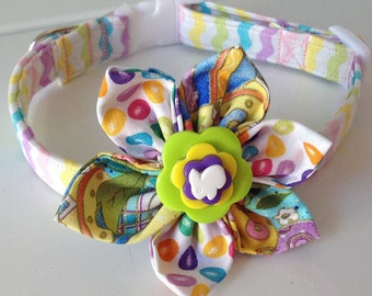 Easter Pastel Chevron Flower Collar for Girl Dogs and Cats