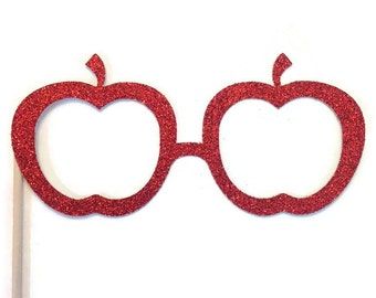 Photo Booth Prop Set - Apple Shaped Glasses - Photo Booth Prop with GLITTER