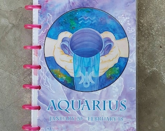 Aquarius Planner Cover - Mini Planner Cover - The Water Bearer - Disc Bound Notebook - Arc System Cover - Disc Bound Planner Cover