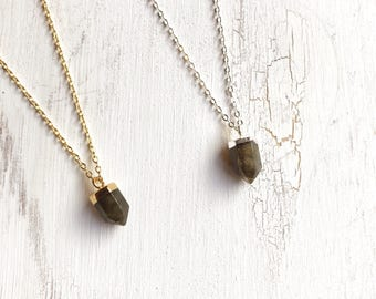 Kleiner Labradorit Spike Choker, Boho Nomad Gypsy Schmuck, Edelstein gold filled sterling Silber Halskette, Halsband Geschenk, Punkt Pendel