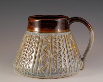 Pottery Mug, Stoneware Mug, Coffee Cup, Tea Cup, Mug in Black and Lavender