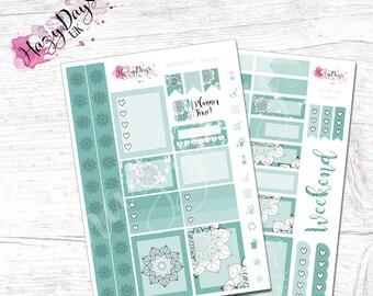 Geometric Mandala - Teal, Personal Kit. Planner Stickers for ECLP, Happy Planner, BuJo, TN etc.