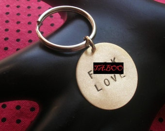F .CK LOVE Keychain, Brass Disc Keychain, Love Keyring, Key Ring, Valentines Day, Anti-Valentines, Mature