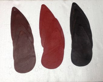 6-967.  Red Brown and Hazelnut  Package of 12 Leather Cowhide Remnants