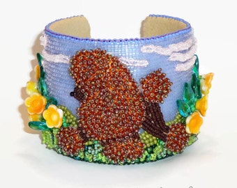 POODLE in PUBLIC GARDEN Beaded Cuff Bracelet Bead Embroidery Art Dog Jewelry - Gift for Her / Ready to Ship (a)