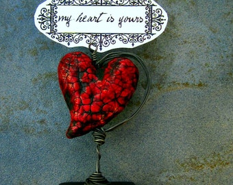 Paper Mache Keepsake: Miniature Tabletop Papier Mache Heart Note & Photo Holder, My Heart is Yours MADE to ORDER