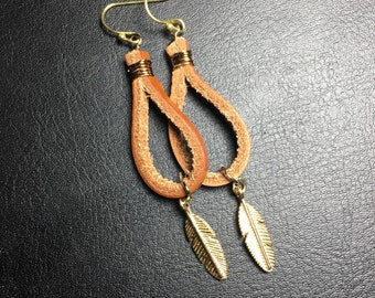 Long earrings, leather earrings, feather earrings