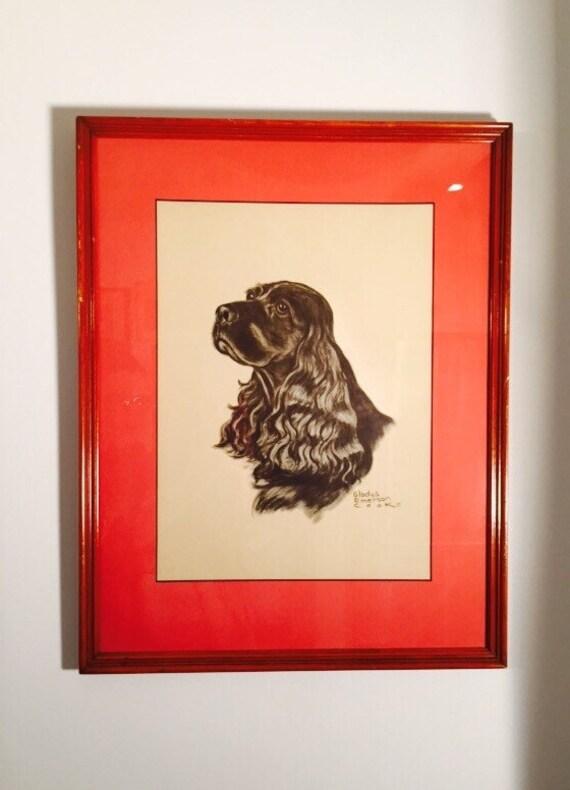Vintage Gladys Emerson Cook Professionally Framed Print of Cocker Spaniel with Matting - Framed Dog Print