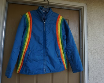Vintage 1970s blue ski jacket with rainbow size L Large 70s Metal zipper
