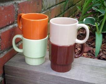 Vintage 1970s Era Retro Coffee Mugs / Cups - Set of 4 - Made in Japan - Circa 1975 - Brown Orange & Green Collectible Ceramic Mug Gift Set