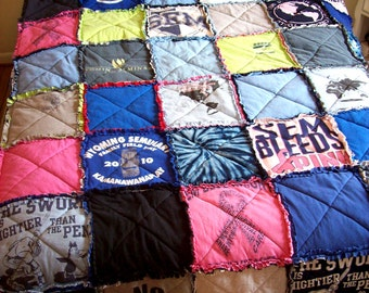 TShirt Quilt Memory Blanket Custom Made From Your Own Tees Recycled Queen Size Coverlet Spread Graduation Gift Handmade Gift for Him Her