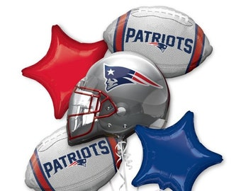 Patriots bouquet pk of 5, New England football, Super Bowl party balloon