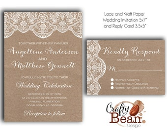 Custom White Lace and Kraft Paper Rustic/Vintage Wedding Invitations DIY Printable.