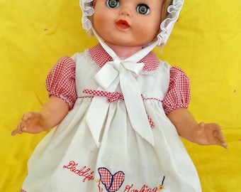 Vintage Baby Doll - Sleepy Eyes, Drinks & Wets. Made By Kaysam-Jolly Toy Corp Using The Baby Dollikin Head Mold And Limbs.