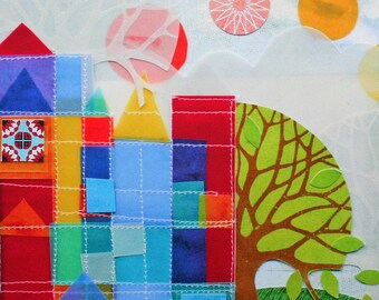 Neigbourhood tiny art print, colourful geometric art, Brian Wildsmith & Paul Klee inspired, mid-century style, castle and sun