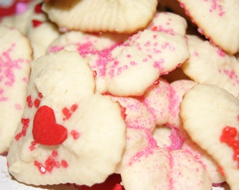 Italian Butter Cookies - Valentine's Day Cookies, Easter Basket Filler, SPRITZ, 2.5 dozen, Cookie Gift, Homemade, edible, made to order