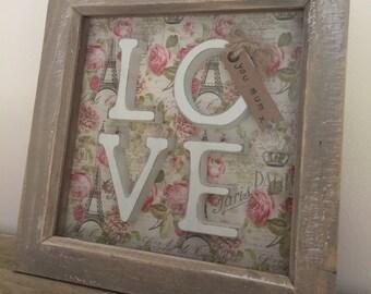 Beautiful 'LOVE you Mum' Shabby Chic box Frame
