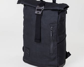 Roll Top Backpack, Laptop Backpack, Roll Top, Backpack, Mens Backpack, Canvas Backpack, Travel Backpack, Black Backpack, Hiking Backpack