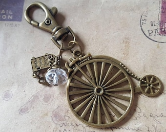Keychain ~ penny farthing ~ ~ bronze ~.
