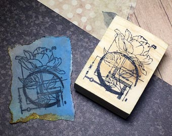 Flora II - F9 Wood Mounted Rubber Stamp