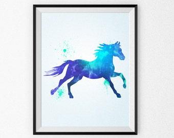 Watercolor Horse Painting - Watercolor Nursery Art - Wall Art - Blue Horse - Watercolor Canvas - Watercolor Print