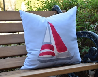 Sail Away 16 inch Blue Decorative Geometric Throw Outdoor Pillow