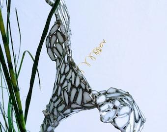 White Glass Flower Sculpture on Stem - For garden or home decoration