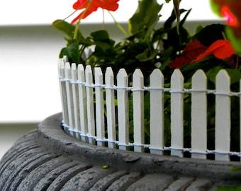 "Fairy Garden Fence White Picket - terrarium accessories - 18"" or 8.5"" long - wired - wood - white picket fence - edging -  supply"